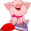 Pretty pig at Valentines Day — Vector de stock