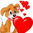 Royalty-Free Stock Imagem Vetorial: Puppy holding a red heart in her mouth