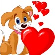 Puppy holding a red heart in her mouth — Stock Vector