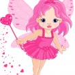 Cute little baby Love fairy — Vector de stock