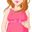 Happy pregnant woman prepared to be mother — Stock Vector