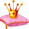 Princess crown on the pink pillow — Stock Vector