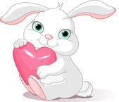Rabbit holds love heart — Stock Vector