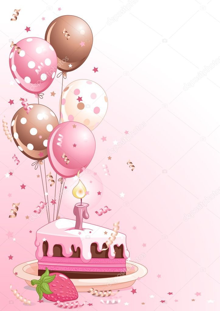 Clipart pink lustration of a Slice Of  Birthday Cake With Balloons And Confetti — Stock Vector #4753778