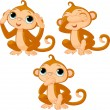 Three little monkeys - Stock Vector