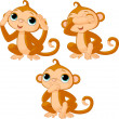 Stock Vector: Three little monkeys
