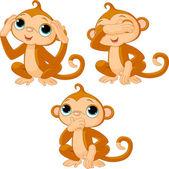 三个小猴子 — 图库矢量图片
