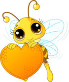 Cute bee holding a sweet heart — Stockvector