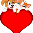 Valentine Cat and dog sign — Stock Vector