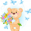Stock Vector: Blue Teddy Bear with flowers