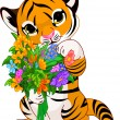 Cute tiger cub with flowers — Stock Vector