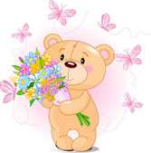 Pink Teddy Bear with flowers — Stock Vector