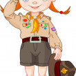 Stock Vector: Boy scout girl doing hand sign
