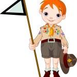 Постер, плакат: Boy scout holding a flag