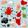 Stock Vector: Comics hands collection