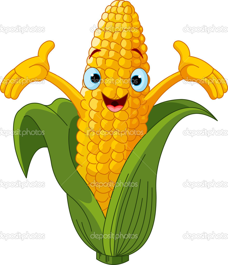 Illustration of a Sweet Corn Character Presenting Something — Stock Vector #4878402