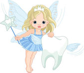 Cute Tooth Fairy flying with Tooth — Stock Vector