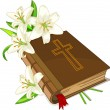 Bible and lily flowers — Vettoriali Stock