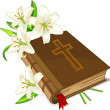 Bible and lily flowers — Stock vektor