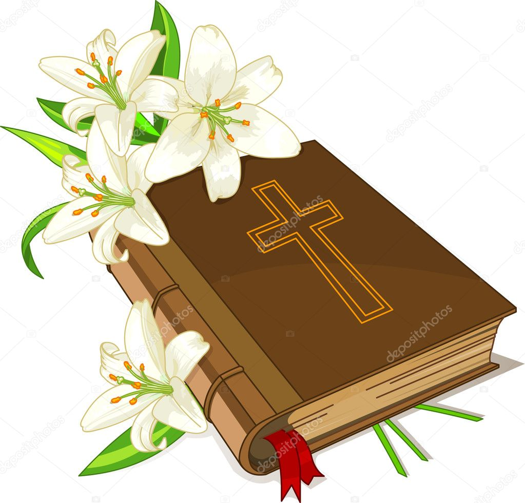 The sacred book the bible and lily flowers on a white background — Stock Vector #4937777