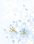 Lilly on light blue background — 图库矢量图片