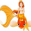 Mermaid riding on a golden fish — Stock Vector