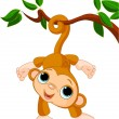 Baby monkey on a tree - Stock Vector