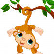 Stock Vector: Baby monkey on tree