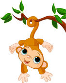 Baby monkey on a tree — Stock Vector