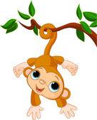 Baby monkey on a tree — Stock Vector