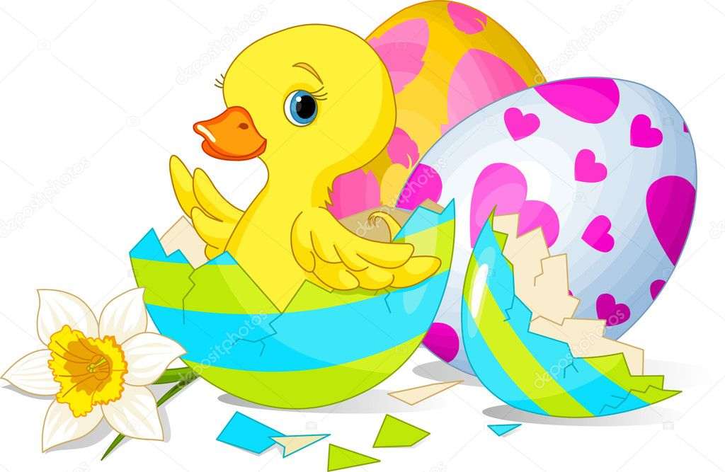 Easter duckling sitting in the broken Easter Egg. — Stock Vector #5053472