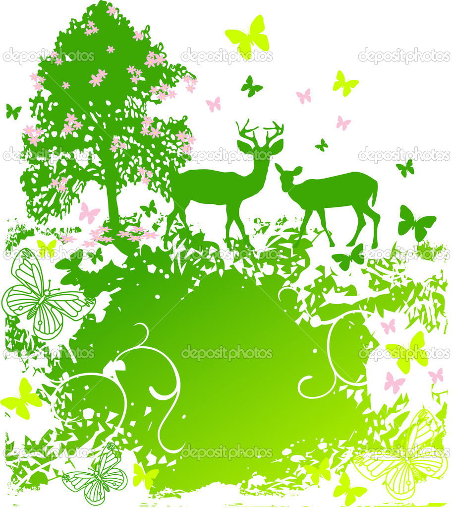 A beautiful spring scene of wildlife in nature background — Stok Vektör #5119548