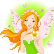 Spring fairy with narcissus — Stock Vector