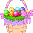 Easter Basket with colorful eggs — Stock Vector