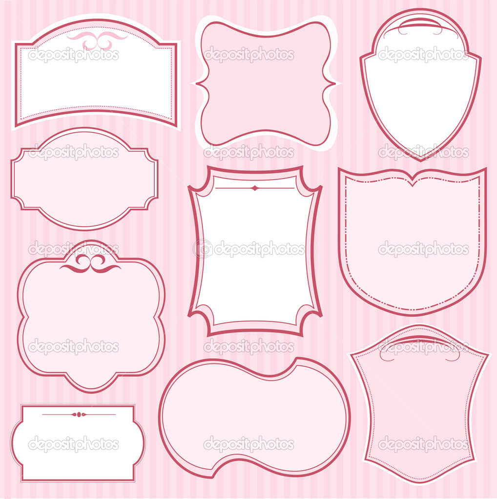 Set of pink vector frames and ornaments with text place. Perfect as invitation or announcement  — Stock Vector #5156995