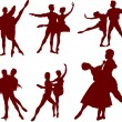 Royalty-Free Stock Vector Image: Ballet couple silhouettes