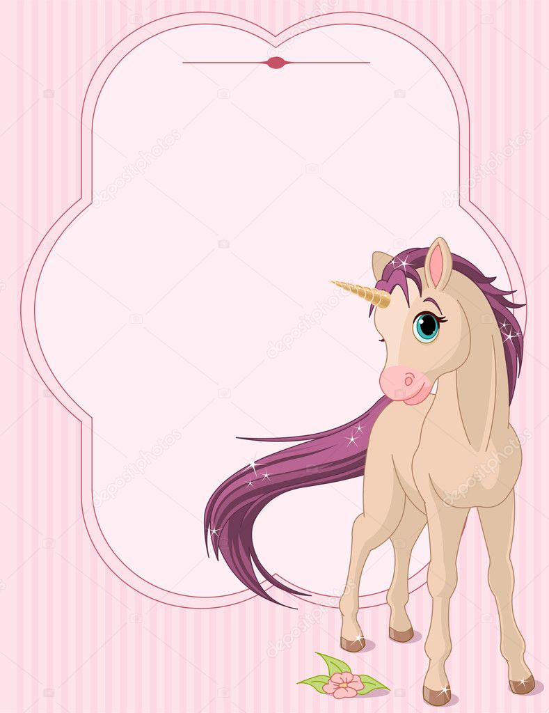 Place card of standing beautiful baby unicorn — Stock Vector #5163275