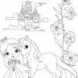 Beautiful princess and unicorn coloring page — Stock Vector