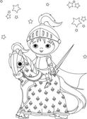 The Brave Knight on the horse coloring page — Stock Vector
