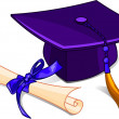 Royalty-Free Stock Vector Image: Graduation cap and diploma