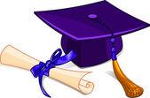 Кепка церемонии вручения дипломов и диплом — Cтоковый вектор