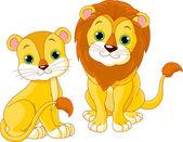 Lion couple — Stock Vector