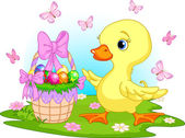 Easter duckling with a basket of eggs — Stock Vector