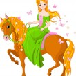 Stock Vector: Princess riding horse. Spring