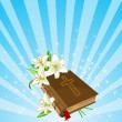 Bible and lily flowers background - Stok Vektör