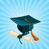 Graduation cap and diploma radial background — Stock Vector