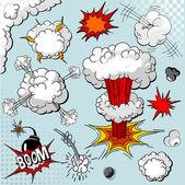 Comic boek explosie elementen — Stockvector