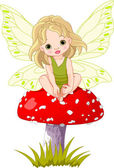 Baby Fairy on the Mushroom — Stock Vector