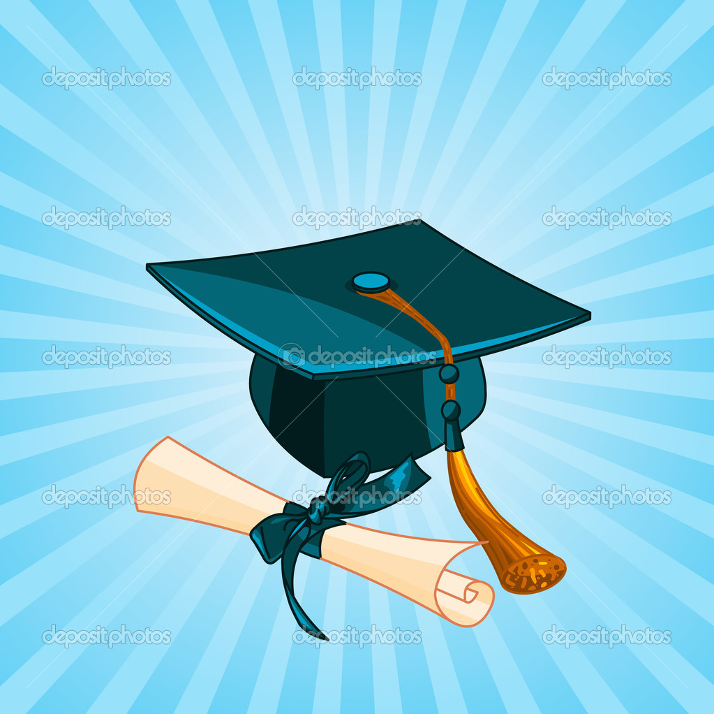Graduation cap and diploma radial background — Stock Vector ...