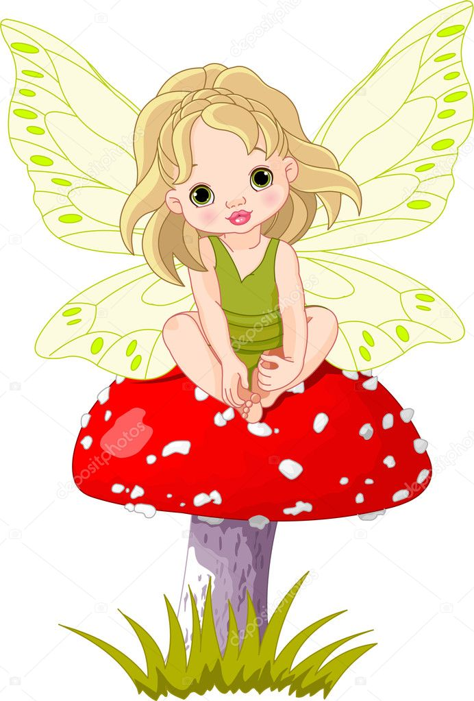 Baby fairy elf sitting on mushroom  Stock Vector #5226610